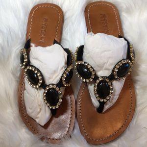 Mystique Black Leather/Rhinestones Sandals